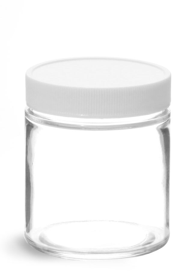 Clear Glass Straight Sided Jars w/ White Plastic Teflon Faced Lined Caps