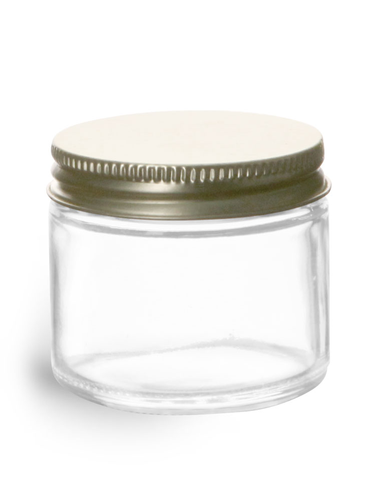 2 oz Clear Glass Jars w/ Plastisol Lined Gold Metal Caps