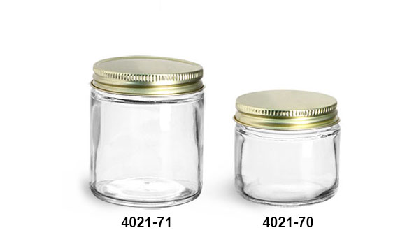 Clear Glass Jars, Clear Straight Sided Glass Jars w/ Plastisol Lined Gold Metal Caps