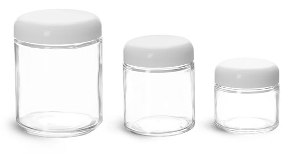 Clear Glass Jars, Clear Straight Sided Glass Jars w/ Lined White Plastic Dome Caps