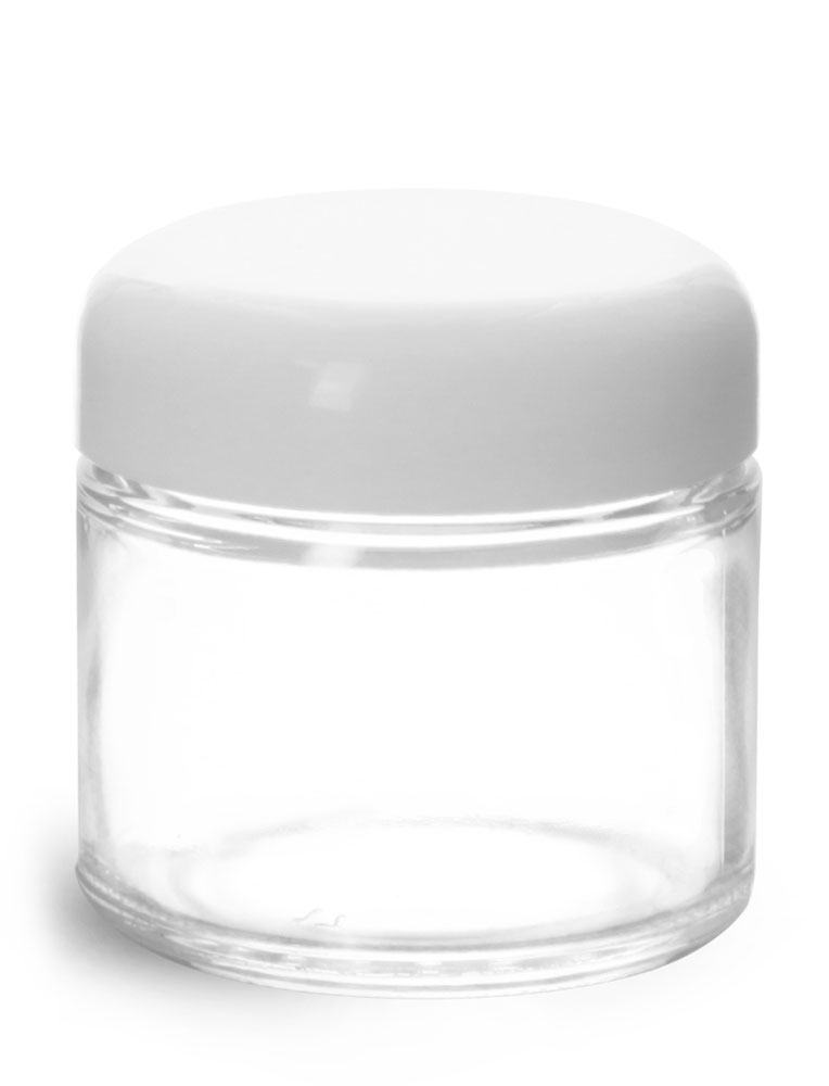 2 oz Clear Glass Jars w/ White Dome Caps