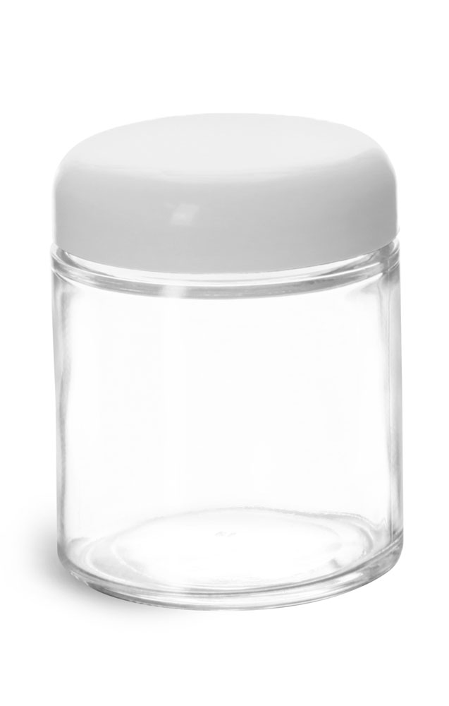 Clear Glass Jars w/ White Dome Caps
