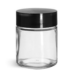 Clear Glass Jars, Clear Glass Straight Sided Jars w/ Black Phenolic Deep Skirted F217 Lined Caps