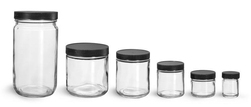 Clear Glass Jars, Clear Straight Sided Glass Jars w/ Lined Black Ribbed Plastic Caps