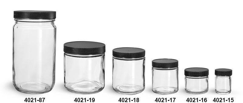 Clear Glass Jars, Clear Glass Jars w/ Lined Black Ribbed Plastic Caps