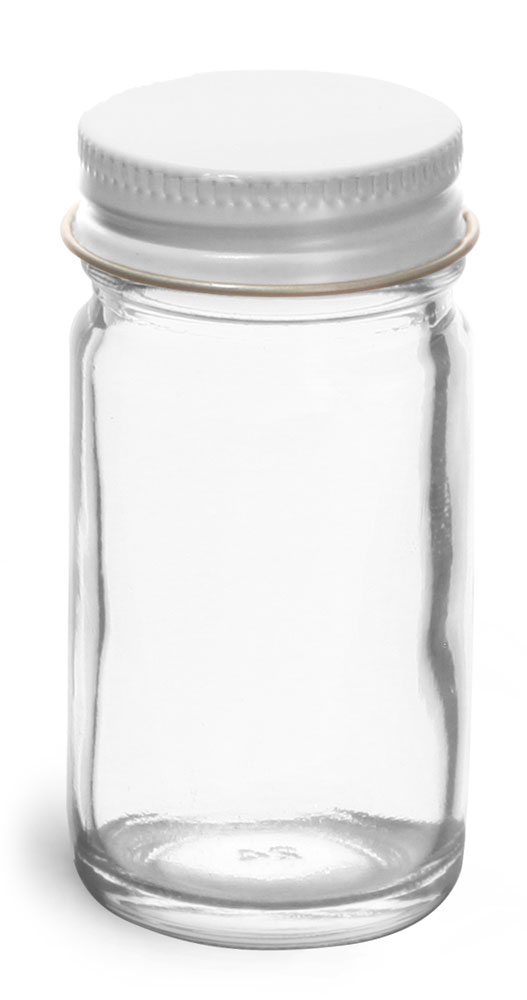 Glass Jars, Clear Glass Paragon Jars w/ White Metal Foil Lined Caps