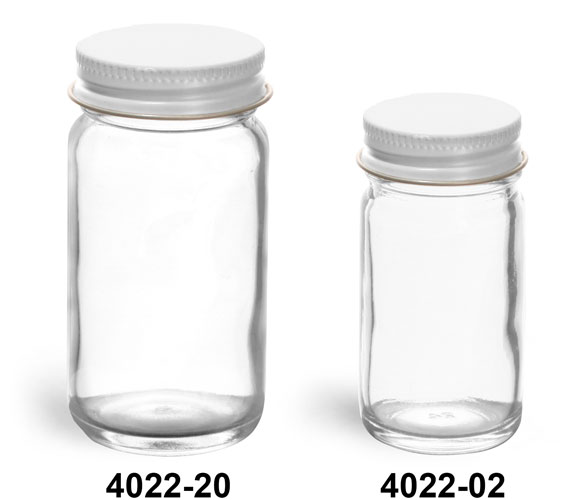 Clear Glass Jars, Clear Glass Paragon Jars w/ White Metal Foil Lined Caps