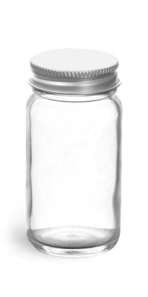 2 oz            Clear Glass Paragon Jars w/ Lined Aluminum Caps
