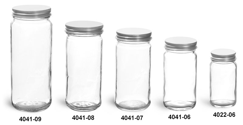 Clear Glass Jars, Clear Glass Paragon Jars w/ Lined Aluminum Caps