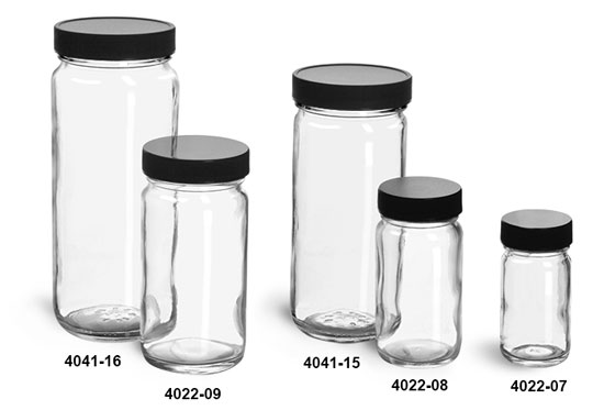 Clear Glass Jars, Clear Glass Paragon Jars w/  Lined Black Ribbed Plastic Caps
