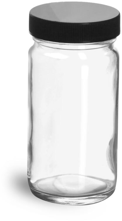 Clear Glass Paragon Jars w/  Lined Black Ribbed Plastic Caps