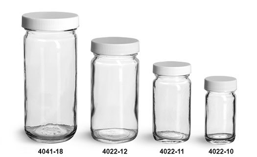 Glass Jars, Clear Glass Paragon Jars w/ Lined White Ribbed Plastic Caps
