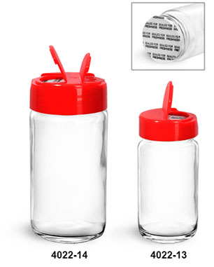 Clear Glass Jars, Clear Glass Paragon Jars w/ Red Ps 113 Lined Spice Caps