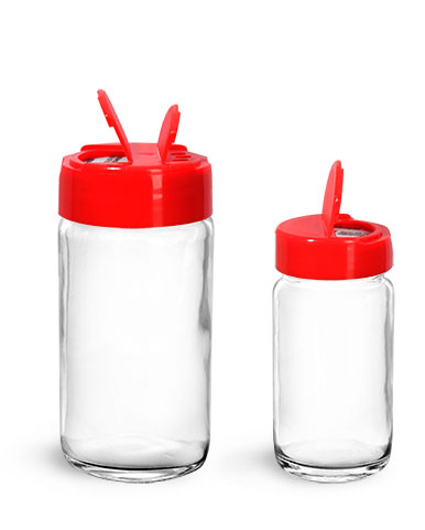 Clear Glass Jars, Clear Glass Paragon Jars w/ Red PS113 Lined Spice Caps