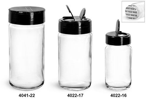 Clear Glass Jars, Clear Glass Paragon Jars w/ Black Ps 113 Lined Spice Caps