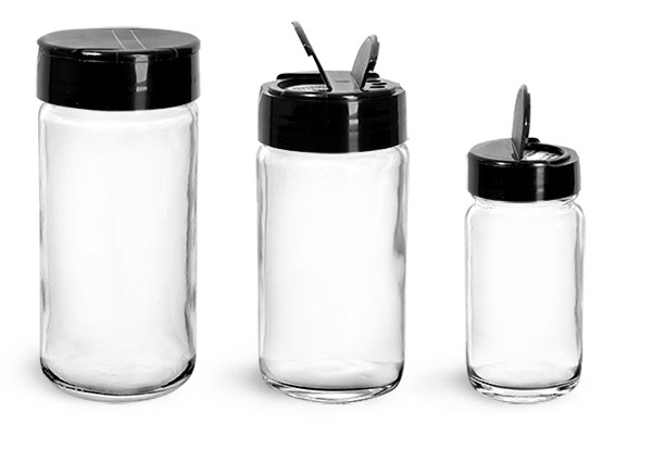 Clear Glass Jars, Clear Glass Paragon Jars w/ Black PS113 Lined Spice Caps