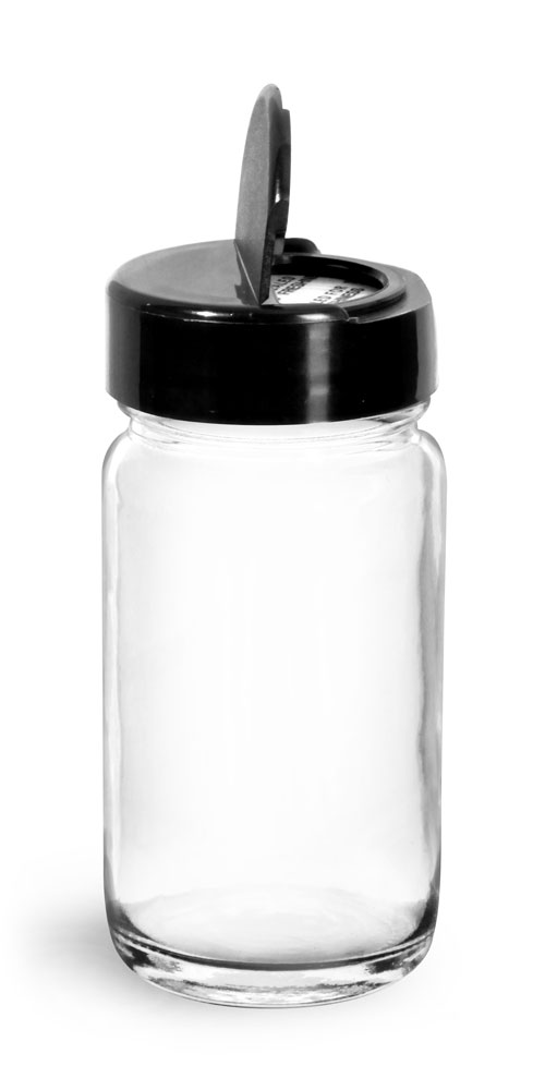Glass Jars, Clear Glass Paragon Jars w/ Black Ps 113 Lined Spice Caps