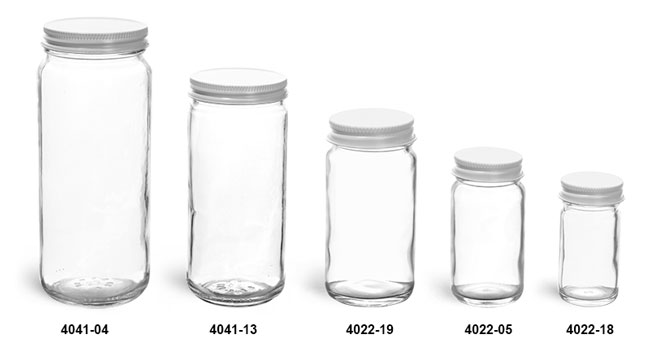 Clear Glass Jars, Clear Glass Paragon Jars w/ White Metal Plastisol Lined Caps