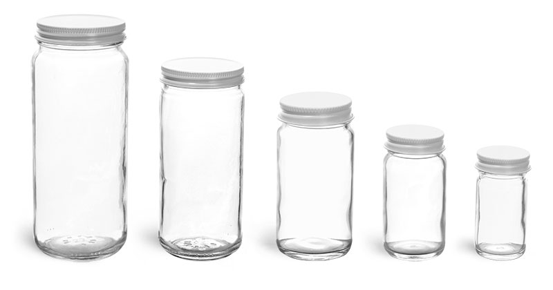 Clear Glass Jars, Clear Glass Paragon Jars w/ White Metal Plastisol Lined Caps'