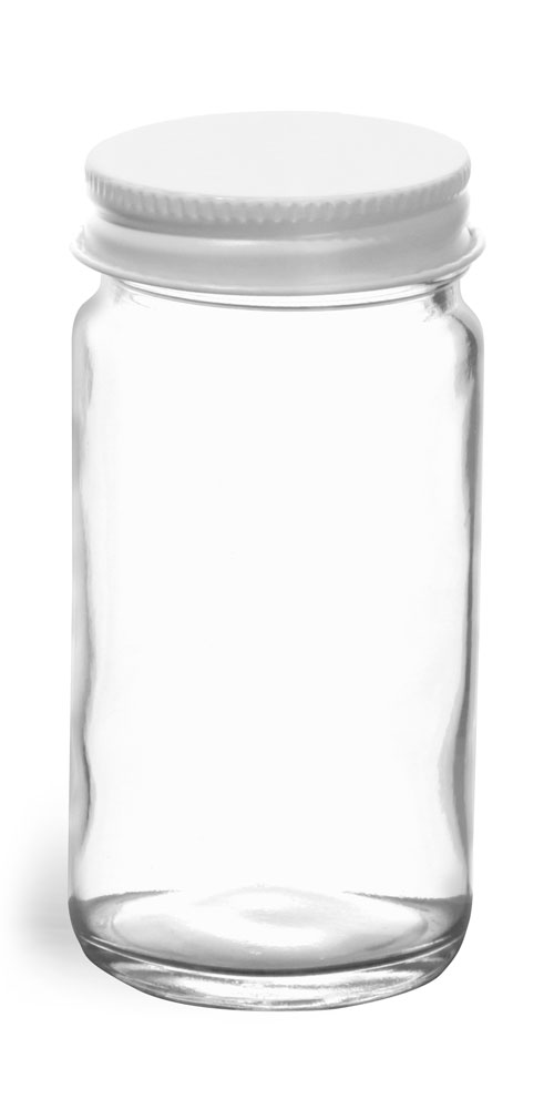 4 oz Clear Glass Paragon Jars w/ White Metal Lined Caps