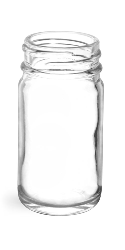 1 oz       Clear Glass Pharmaceutical Round Bottles (Bulk), Caps NOT Included