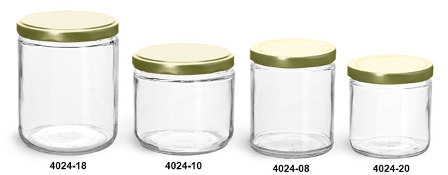 Clear Glass Jars, Clear Straight Sided Glass Jars w/ Gold Metal Plastisol Lined Lug Caps