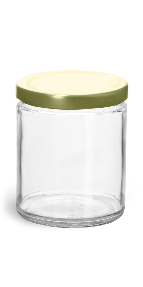 9 oz Clear Glass Straight Sided Jars w/ Gold Metal Plastisol Lined Lug Caps