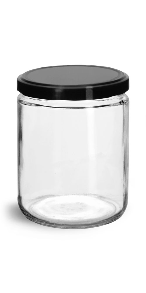 Clear Glass Jars w/ Black Metal Plastisol Lined Lug Caps