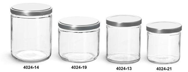 Glass Jars, Clear Glass Straight Sided Jars w/ Silver Metal Lug Caps