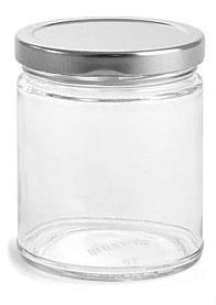 9 oz Clear Glass Straight Sided Jars w/ Silver Metal Lug Caps