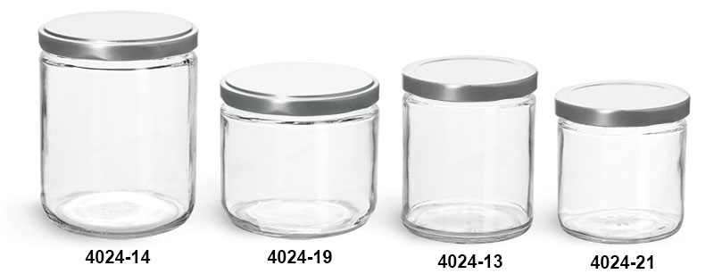 Clear Glass Jars, Clear Straight Sided Glass Jars w/ Silver Metal Lug Caps
