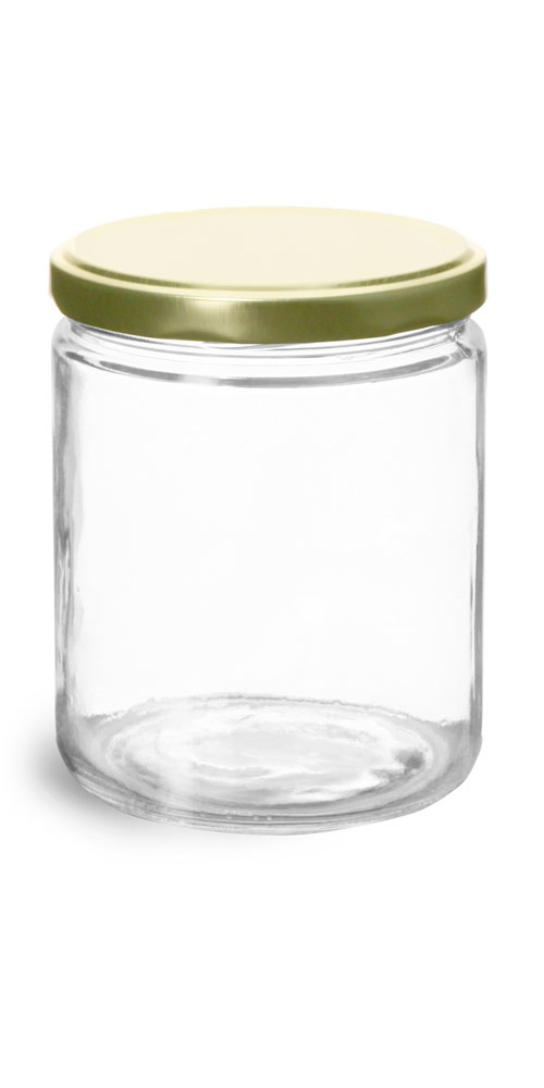 16 oz Clear Glass Straight Sided Jars w/ Gold Metal Plastisol Lined Lug Caps