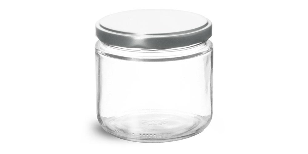 12 oz Clear Glass Straight Sided Jars w/ Silver Metal Lug Caps