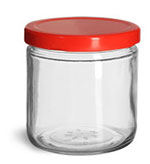 Clear Glass Jars, Clear Straight Sided Glass Jars w/ Red Metal Plastisol Lined Lug Caps