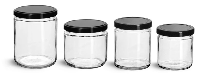 Clear Glass Jars, Clear Straight Sided Glass Jars w/ Black Metal Plastisol Lined Lug Caps
