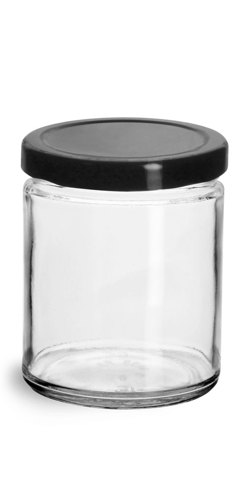 9 oz Clear Glass Straight Sided Jars w/ Black Metal Plastisol Lined Lug Caps