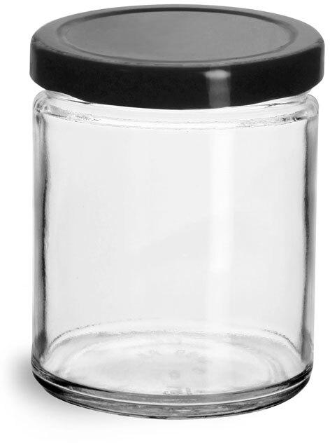 Clear Glass Straight Sided Jars w/ Black Metal Plastisol Lined Lug Caps