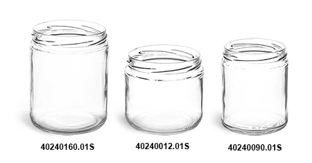 Glass Jars, Clear Straight Sided Jars (Bulk), Caps Not Included