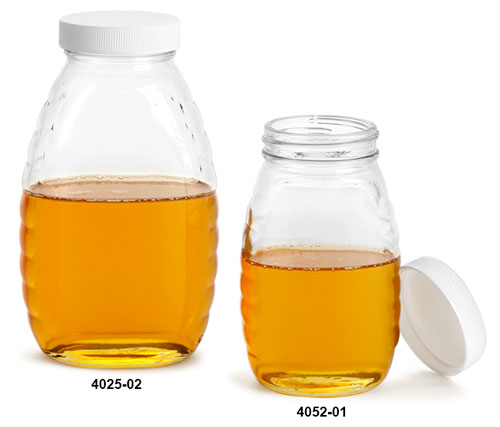 Glass Jars, Clear Glass Honey Jars w/ White Ribbed Unlined Caps