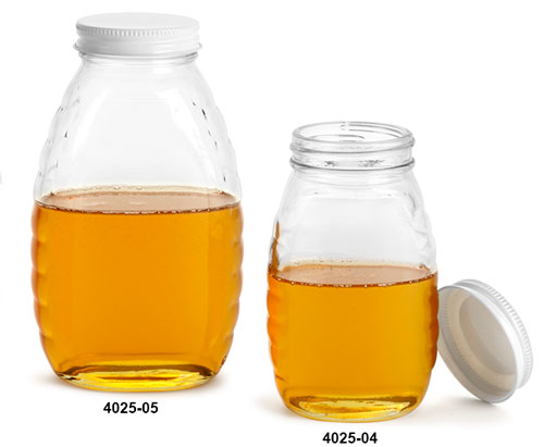 Clear Glass Jars, Clear Glass Honey Jars w/ White Metal Plastisol Lined Caps