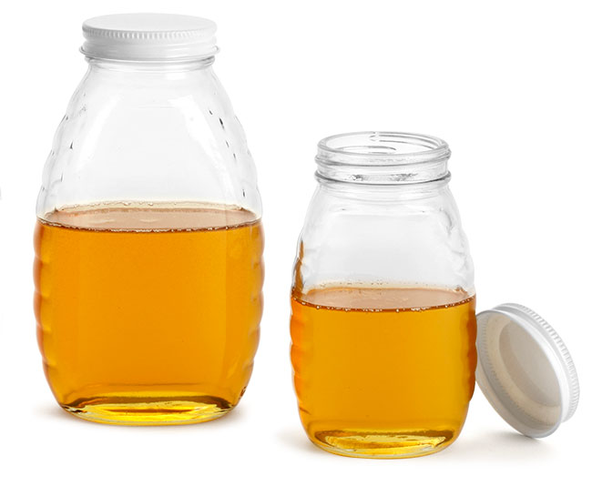 Clear Glass Jars, Glass Honey Jars w/ White Metal Plastisol Lined Caps