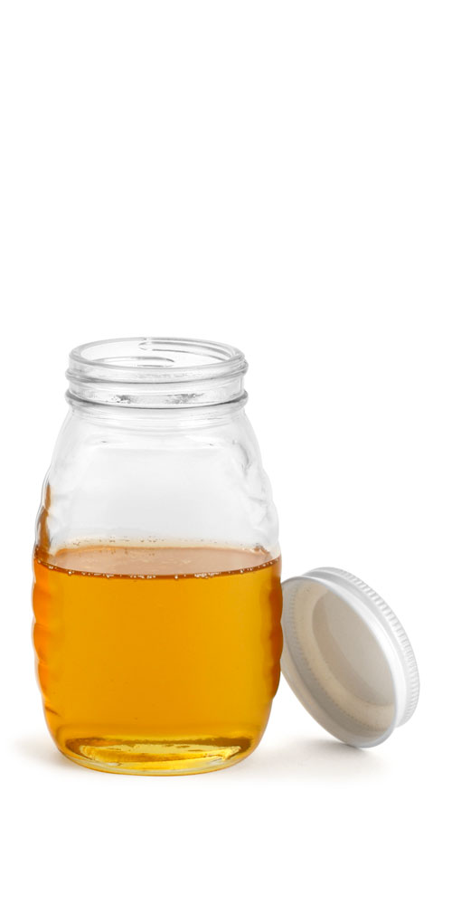 8 oz Clear Glass Honey Jars w/ White Metal Plastisol Lined Caps