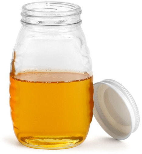 Clear Glass Honey Jars w/ White Metal Plastisol Lined Caps