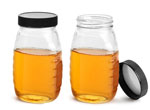 Clear Glass Honey Jars w/ Ribbed Black Lined Caps