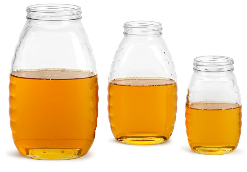 Clear Glass Honey Jars (Bulk), Caps Not Included