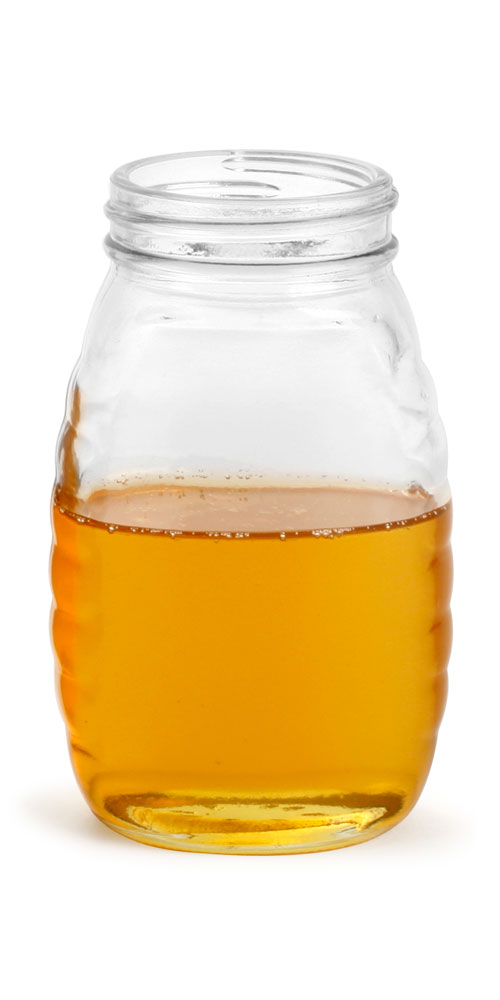 8 oz Clear Glass Honey Jars