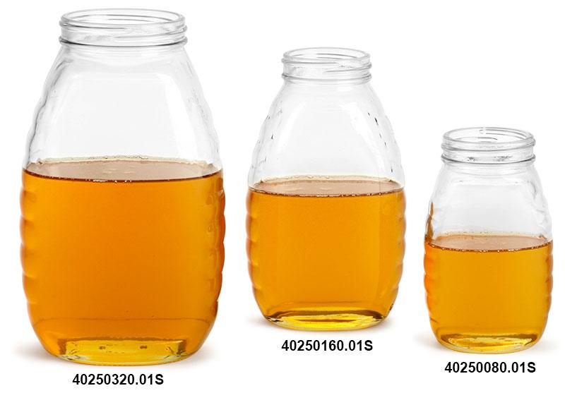 Glass Jars, Clear Glass Honey Jars (Bulk), Caps NOT Included