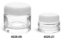 Clear Glass Jars, Clear Glass Thick Wall Cosmetic Jars w/ White Dome PE Lined Caps
