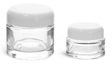 Clear Glass Jars, Clear Glass Cosmetic Jars w/ White Dome Lined Caps