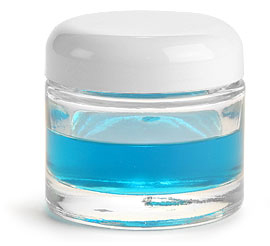 2.3 oz Clear Glass Jars, Clear Glass Thick Wall Cosmetic Jars w/ White Dome PE Lined Caps